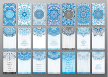 Vector Vintage Visiting Card Set. Floral Mandala Pattern And Ornaments. Oriental Design Layout. Merry Chistmas And Happy New Year Snowflakes Cards. Front Page And Back Page.