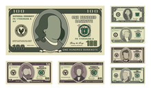 Money Bill Icons. Detailed Currency Banknotes. Cartoon American Dollars. Flat Vector Illustration
