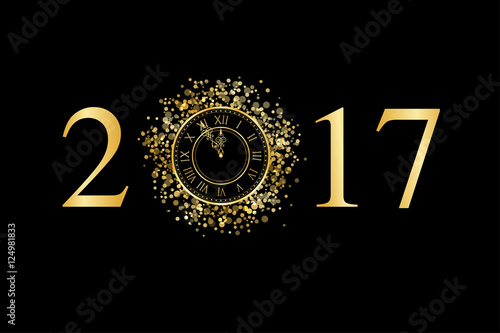 2017 avec horloge minuit Poster