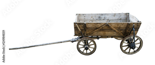 Vintage wooden cart isolated on white. Path included. © fotoyou