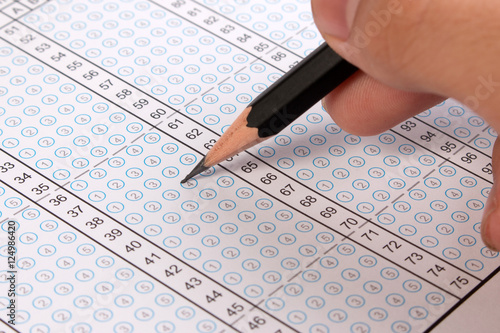 Filling Out In Answer Sheet Focus On Pencil Bubble With