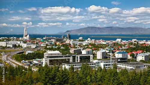 Aerial view of Reykjavik Billede på lærred