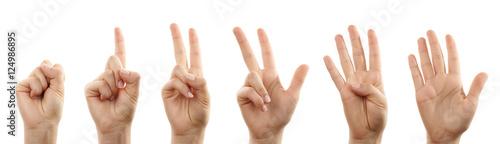 Foto  Hände zählen von null bis fünf