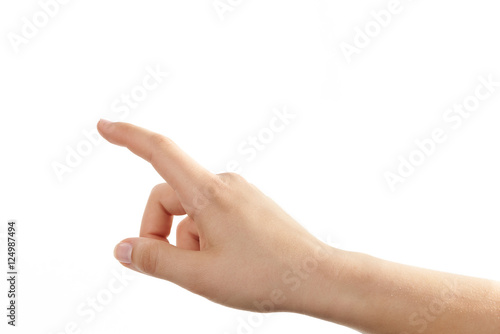 Hand einer jungen Frau mit zeigendem Finger Canvas-taulu