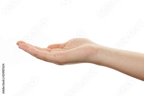 Valokuva  offene Hand einer jungen Frau