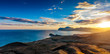 View of the Koktebel Bay, Cape Chameleon and ancient volcano Kar