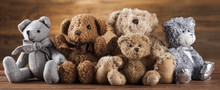 Group Of Cute Teddy Bears On V...