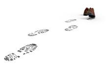 Laufende Schuhe Mit Spuren, Abdrücke