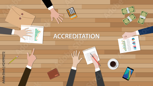 Photo accreditation concept illustration with team people work together  paperwork gra