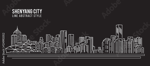 Valokuva  Cityscape Building Line art Vector Illustration design - Shenyang city