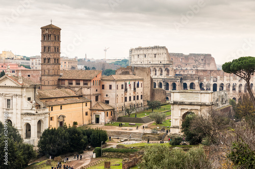 Staande foto Rome Roman ruins and the Colosseum in Rome, Italy