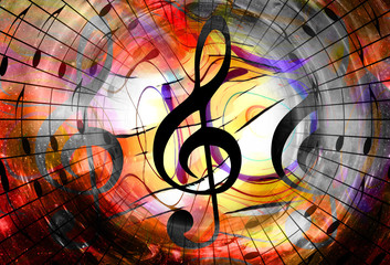 Fototapeta music notes and clef in space with stars. abstract color background. Music concept.