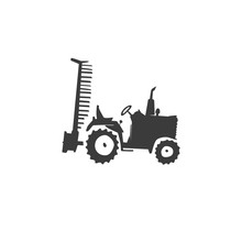 Simple Fun Tractor Icon. Monoc...