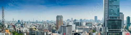 Plakat Powietrzny panoramiczny widok Tokio budynki od Shibuya dachu