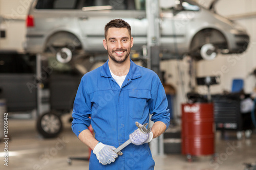 plakat auto mechanic or smith with wrench at car workshop