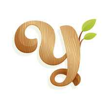 Y Letter Logo With Wood Texture And Green Leaves.