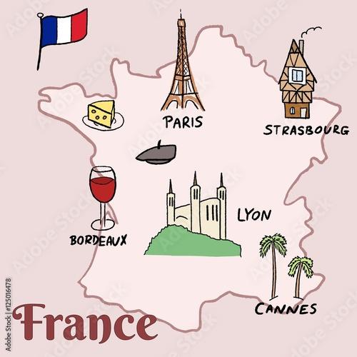 France landmarks Wallpaper Mural