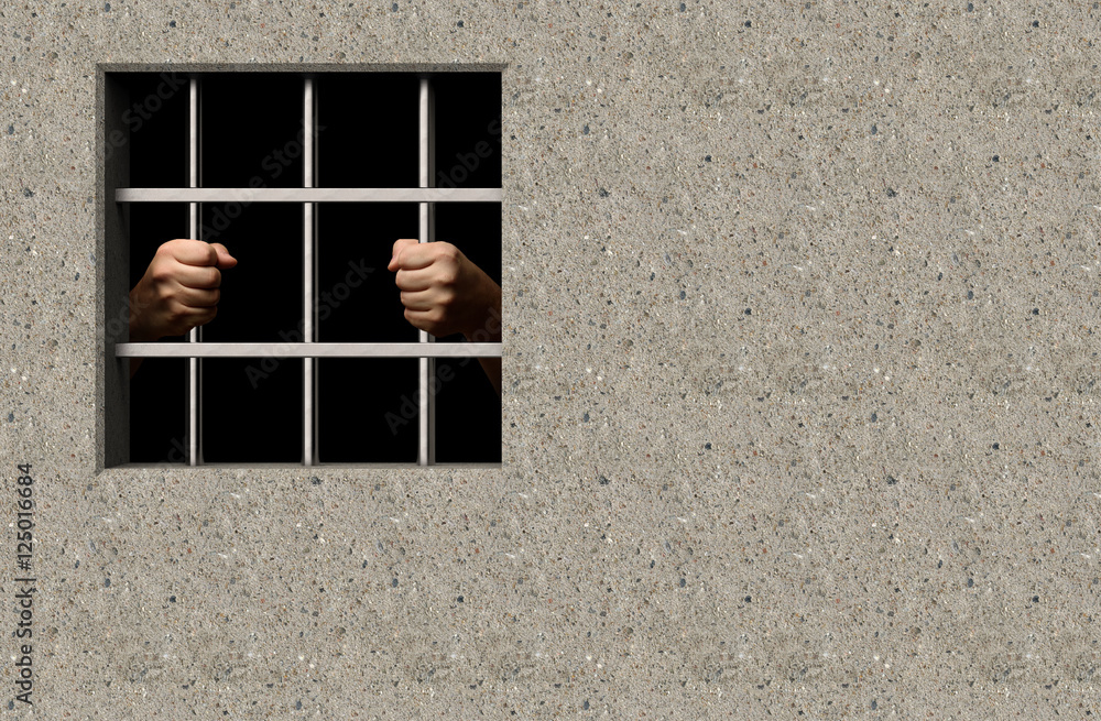 Gefängnis Fenster mit Händen Foto, Poster, Wandbilder bei EuroPosters