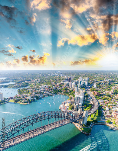 Amazing aerial view of Sydney Harbour at sunset