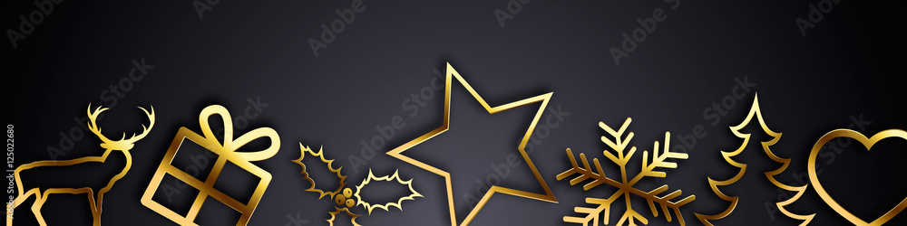 Fototapety, obrazy: Bannière Noël - Version dorée sur fond noir