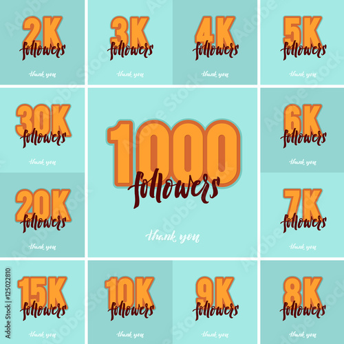 Fotografija  Vector thanks design template SET for network friends and followers