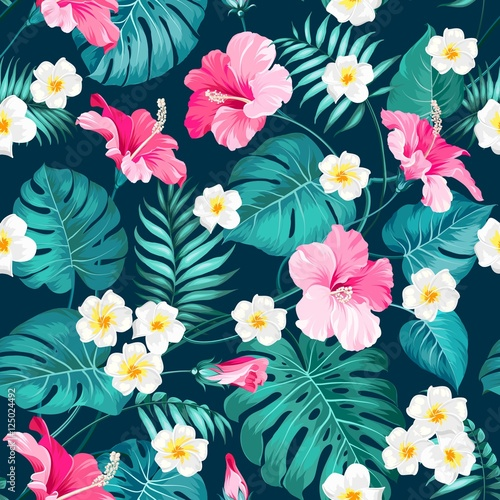 Tropical plumeria and green palm leaves. Dark fabric swatch with pradise flowers isolated over blue background. Seamless fabric texture. Vector illustration.