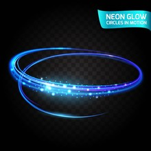 Neon Glow Circles In Motion Blurred Edges, Bright Glow Glare, Magical Glow, Colorful Design Holiday. Abstract Glowing Rings Slow Shutter Speed Of The Effect