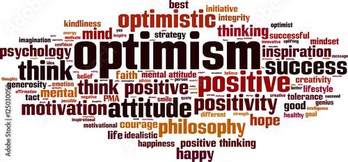 Fotografia  Optimism word cloud concept. Vector illustration
