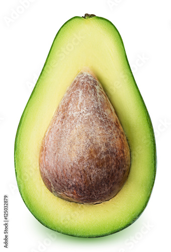 Fotografie, Obraz  Green ripe avocado isolated on white background