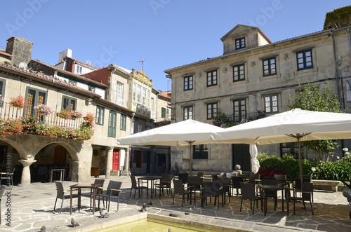 Picturesque plaza in Pontevedra, Spain
