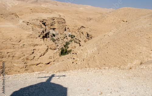 Photo  View of St George Orthodox Monastery, located in Wadi Qelt, Isra