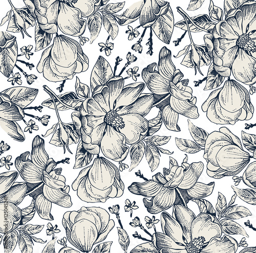 Classic Pattern Beautiful Flowers Dogrose Rosehip Rose Brier