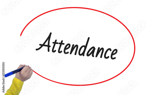 Woman hand writing attendance with marker Canvas Print