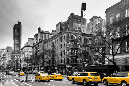 Foto op Plexiglas New York TAXI Yellow cabs at Upper West Site of Manhattan, New York City