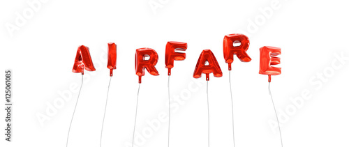 Photo AIRFARE - word made from red foil balloons - 3D rendered
