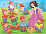 Snow white and seven dwarfs. Fairy tale. A beautiful princess surrounded by seven dwarfs. Illustration for children. Coloring book. Cartoon character