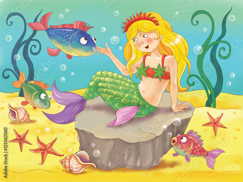 The Little Mermaid. Fairy tale. Beautiful mermaid sits on the bottom of the sea surrounded by fish, starfish and seashells. Illustration for children. Coloring book. Cartoon character.
