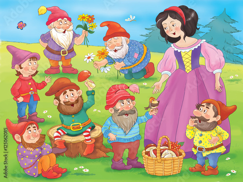 Fotografie, Obraz  Snow white and seven dwarfs