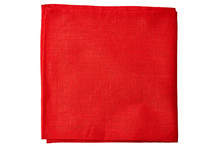 Red Fabric Napkin On White