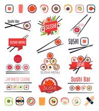 Japanese Sushi Bar Or Restaurant Menu Vector Set