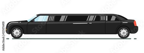 Obraz na plátně Black luxurious limousine vector illustration isolated on white background