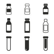 Medicine Bottle Icon Set.