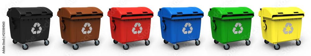 Fototapeta Abfallcontainer verschiedene Farben