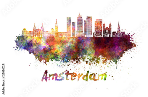 Photo  Amsterdam V2 skyline in watercolor