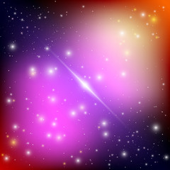 Cosmic galaxy background with bright shining stars. Illusion UFO with nebula and star dust. Alien Spaceship. Vector illustration.