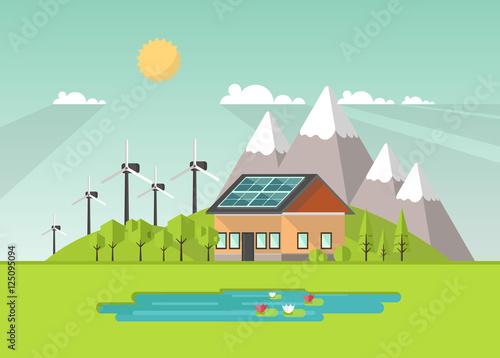Printed kitchen splashbacks Light blue Eco Landscape Flat Design. Eco concept. Illustration of solar panel, with wind turbines. Renewable energy vector.