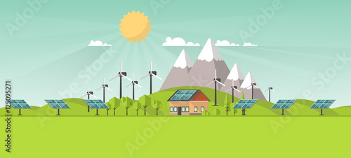 In de dag Lime groen Eco Landscape Flat Design. Eco concept. Illustration of solar panel, with wind turbines. Renewable energy vector.