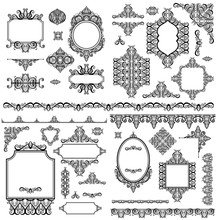 Set Of Black White Design Elements And Page Decoration