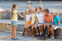 Kids Playing Charades Outdoors
