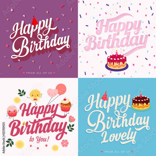 Fotografia, Obraz  4 Happy Birthday greeting card
